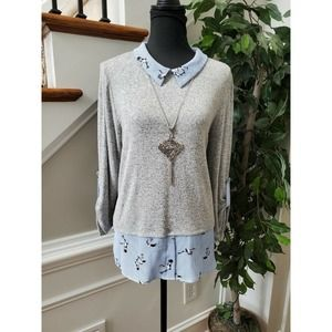 Monteau Women's Gray Polyester Long Sleeve Collared Casual Blouses Shirt Size XL